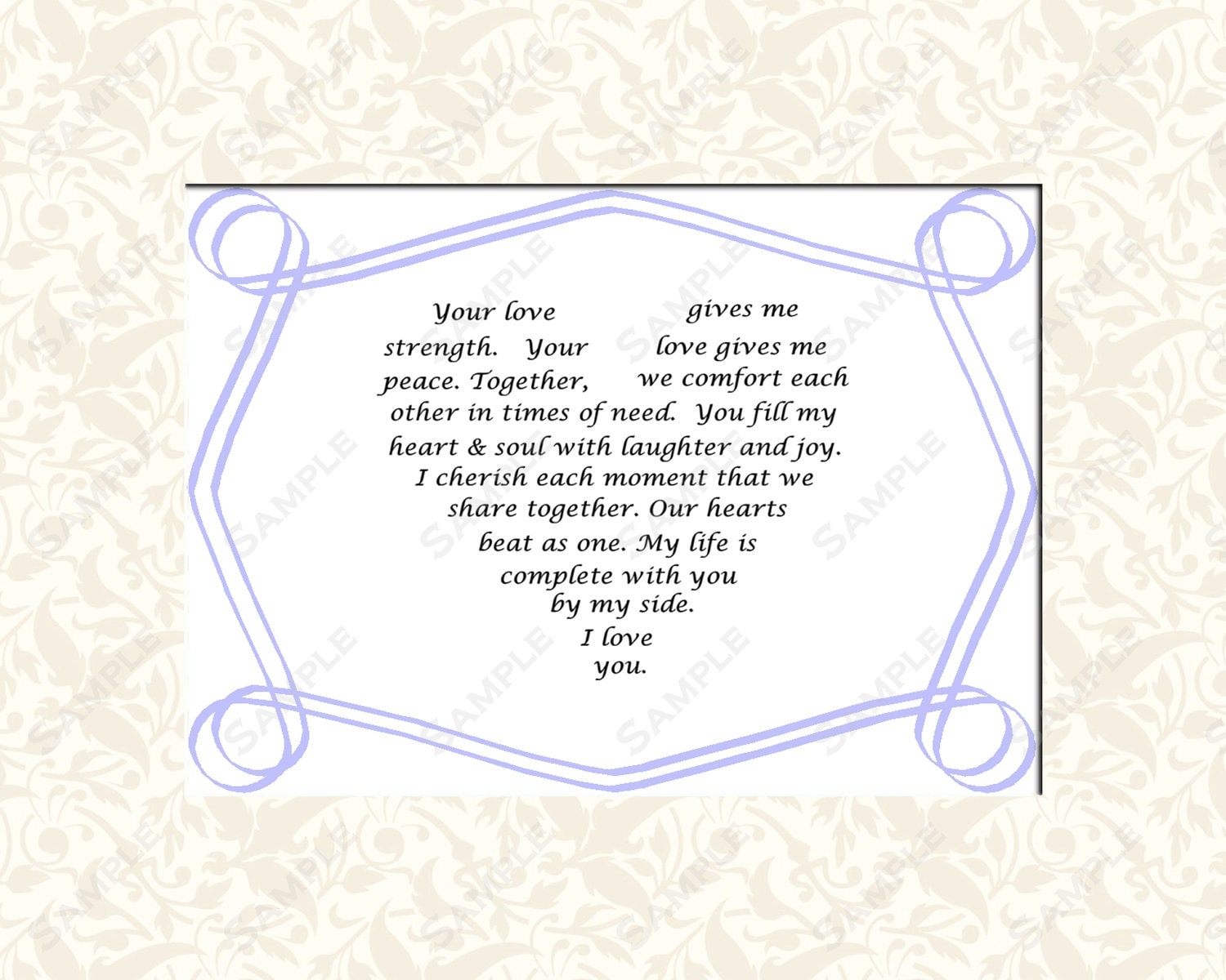 Items Similar To Love Poem Bridal Gift With Heart Shaped