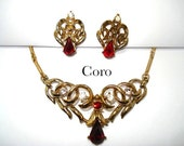 1950s Coro Red  & Clear Rhinestone Tear Drop Necklace with FREE Earrings - KathysVintageJewels2