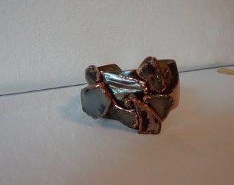Chunky Moss Agate Copper Bracelet