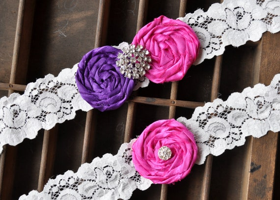 Wedding Garter, Bridal Garter Set - Lace Garter, Keepsake Garter, Toss Garter Included, Rolled Silk Rosette Hot Pink Dark Purple