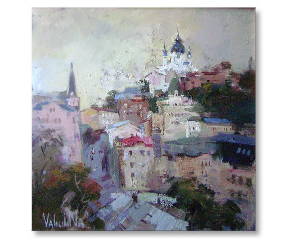 Original oil painting of the Kiev evening cityscape