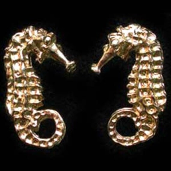 24 carat gold earrings seahorse stud earrings in 24 carat gold on sterling silver 3666