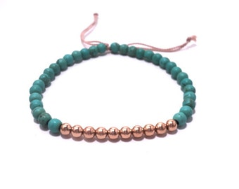 Rose gold and Turquoise Bracelet