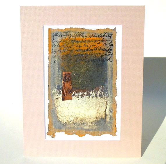 Rust/ Burnt Orange and Ivory Modern Abstract Painting on Handmade Paper-Weightless Words