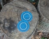 Crocheted Dreamcatcher Earrings in Bright Blue with Beads