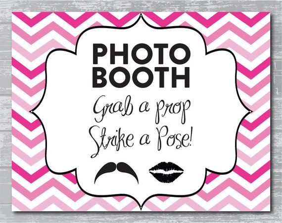 chevron ombre photobooth sign diy wedding poster printable pink instant download by. Black Bedroom Furniture Sets. Home Design Ideas