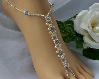 Pearl & Crystal Rhinestone Barefoot Sandal Anklet Foot Jewelry