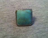 Blue and Silver Stone Ring Size: 7-7.5