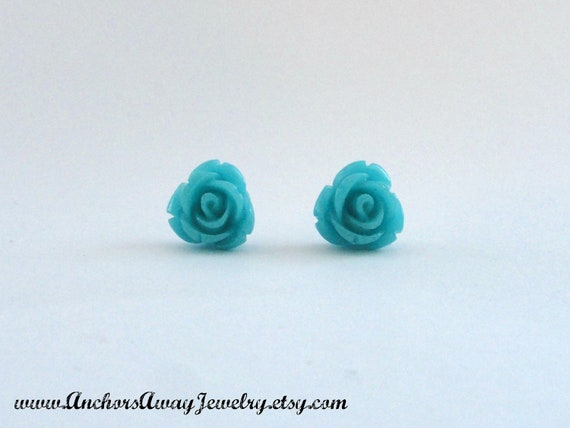 Large Sky Blue Rose Stud Earrings - Flower Earrings - Great Gift