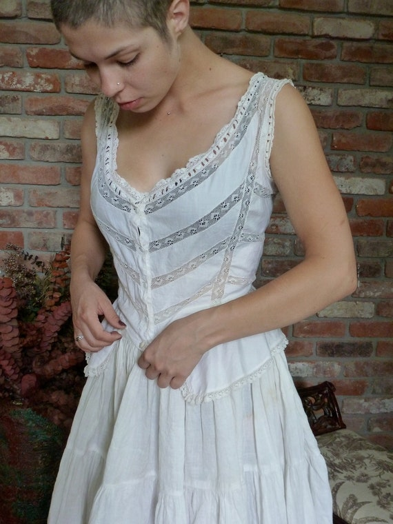 Victorian Corset  Blouse White Lace Peplum Steam Punk Charmer Vintage 1890s 1800s