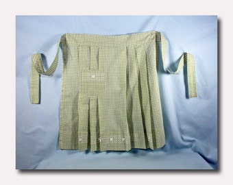 Green Gingham Apron with White Embroidery