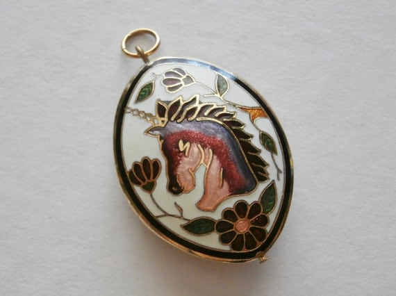 Vintage Magical Unicorn Horse Gold Plated Enameled Oval Pendant White Pink Flower Design Double Sided Girls Ladies Necklace