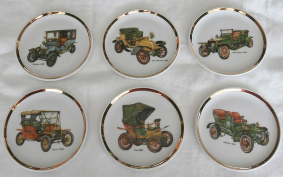 6 - Vintage BAVARIA Schumann Arzberg Germany Collectible Coasters / Small decorative plates with Antique Cars Ilustrations - Gold Band Trim
