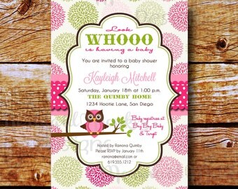 Baby Shower Invitation - Owl Shower Invitation - Baby Girl - Sip & See - Printable Invite - Kayleigh