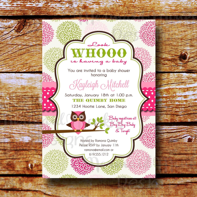 Baby Shower Invitation Owl Shower Invitation Baby Girl