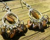 Tigers eye earrings chandelier tigers eye gemstones gypsy boho hippie southwestern Native American inspired  style
