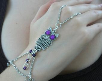 owl slave bracelet, owl bracelet,purple owl, hand chain, slave bracelet,cosplay , fantasy bracelet, whimsical,gypsy ,boho, hippie