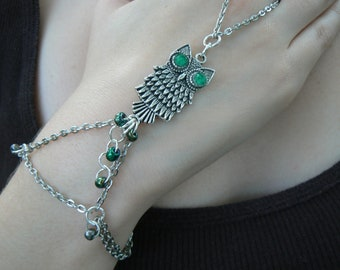 owl slave bracelet green eyed boho hipster  gypsy boho hippie and fantasy cosplay bohemian high fashion style