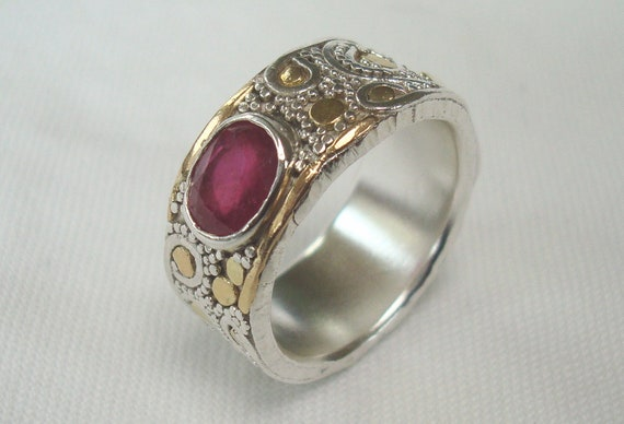 Natural Ruby- Huge 2.2 Carat set in Fine Argentium Silver Ring with 18kt GOLD Accent