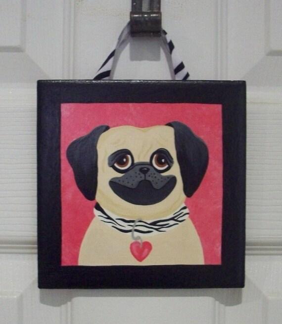 Hand Painted Girl's Pink and Black Pug Ceramic Tile...Dog...Zebra...Children's Decor...Kid's Decor
