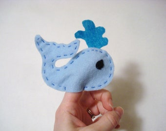 Whale finger puppet, finger puppet, whale puppet, felt toy, handmade toy, whale toy, small toy, handmade, unique, pretend, whale, blue, toy