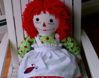 Ladybug Raggedy Ann Doll 25 inches tall Personalized Custom Handmade in the USA