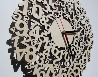 Clock - laser cut from wood - Confusing times