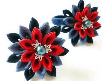 Kanzashi fabric flowers. Set of 2 ponytails . Blue and red.