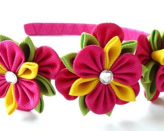 Kanzashi Fabric Flower headband.  Fushia, yellow and apple green.