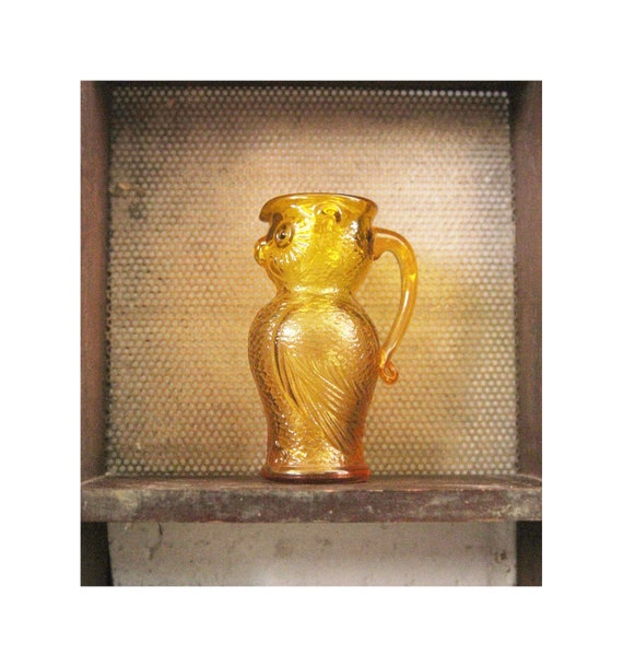 Vintage Yellow Owl Pitcher-  Kanawha honey yellow  Glass Owl Pitcher 5 inches tall vintage home decor woodland vintage