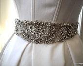 Hand Beaded Couture Crystal Bridal Wedding Sash on 100% Silk Sash Ties