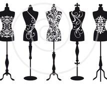 Vintage mannequin silhouettes, dress form, tailor's dummy, fashion illustration, digital clip art for shops, clipart, vector, download