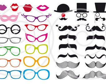Mustache clipart, photo booth props, digital clip art set, printable for wedding, party, DIY, commercial use, SVG file, instant download