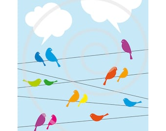 Birds on wire with cloud speech bubbles, blue sky, digital clip art, clipart for announcements, invitations, cards, vector, download