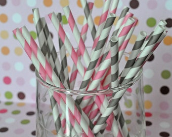Paper Straws - Pink and Gray Striped Party Straws and Coordinating DIY Straw Flag PDF