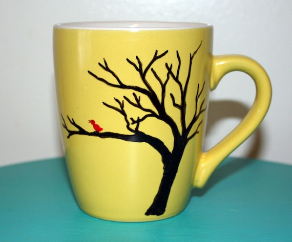 Yellow Ceramic Mug Hand Painted with Chirping Sweet Red Bird in a Bare Tree Fall Winter Spring Sunrise Coffee Tea Hot Chocolate Gift