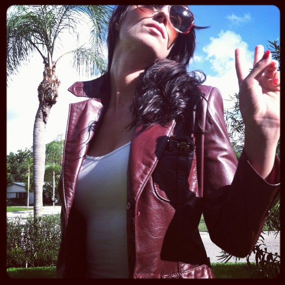Vintage  1970's  Leather Jacket The color of fall.ox blood leather. Burgundy leather blazer. Fall jacket .