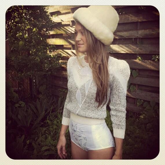 Vintage Designer Fur Hat YSL Yves Saint Laurent Fox Fur Mongolian Lamb Couture Vintage hat