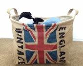 National Basket- England -Linen Fabric Basket, linen bin, desk organizer, leather handler, nature, waterproof