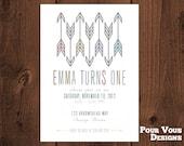 Printable Arrows Boho Birthday Invitation