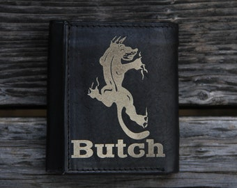 Personalized Tri-fold Leather Wallet - Panther