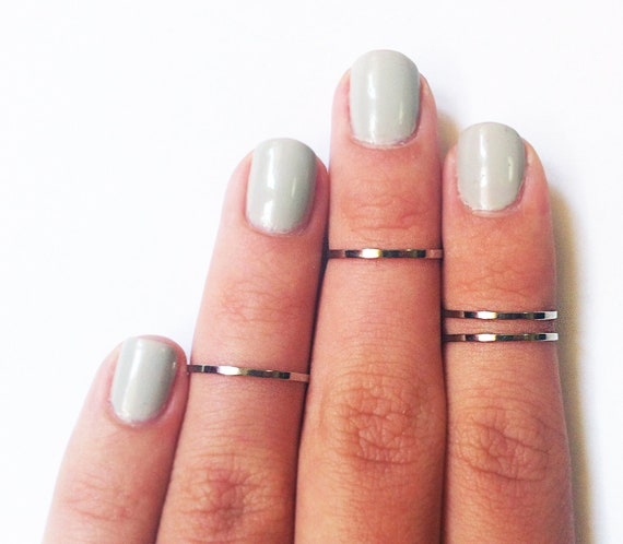 4 Chrome Silver thin Knuckle Rings - silver midi rings, set of 4 silver rings