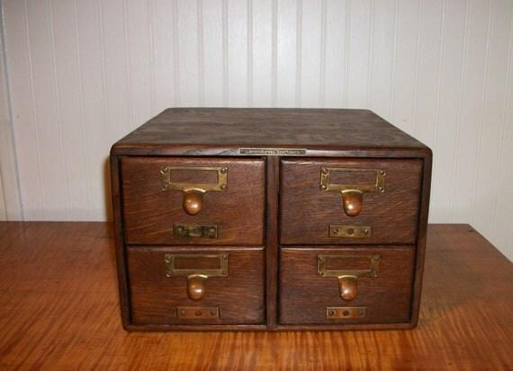 antique library bureau card catalog oak file 4 drawer by actionltd. Black Bedroom Furniture Sets. Home Design Ideas