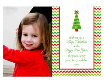 Printable Chevron Christmas Tree Photo Christmas Card
