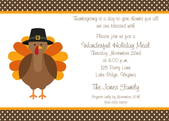 Printable Thanksgiving Dinner Party Invitation Rh Etsy Com Thanksgiving Invitation  Template For Word Thanksgiving Invitation Template  Free Dinner Invitation Templates Printable
