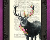 Deer print with pink flowers | deer with floral antlers | floral deer decor | spring decor recycled book page