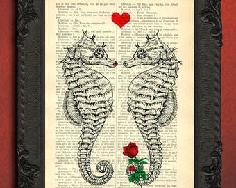 Seahorse print | Etsy