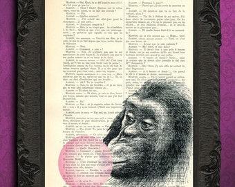 monkey pink bubble gum art print monkey bubblegum wall art