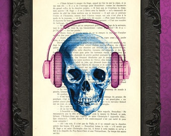 skull with headphones print dj skull print music gift idea