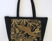 ZIPTOP Stunning 'Bird in Paradise' Tapestry Tote -- Black/Gold/Beige/Cream Limited Edition Bag